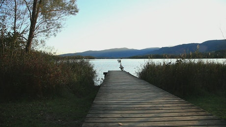 Relaxing pier of a river