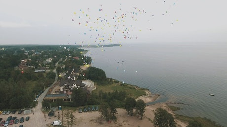 Releasing colorful balloons