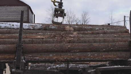 Removing logs from a truck
