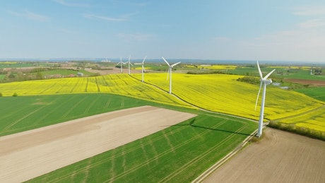 Renewable energy farm in the countryside, drone shot