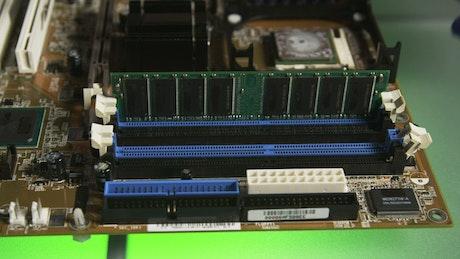 Replacing computer RAM closeup