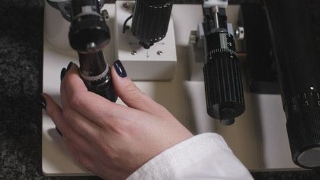 Researcher using a microscope zoom