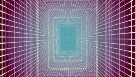 Retro rectangular 3D tunnel of pink neon lights