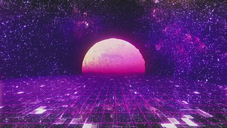 Retro space in purple tones