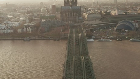 Revealing the cathedral near a river, aerial shot