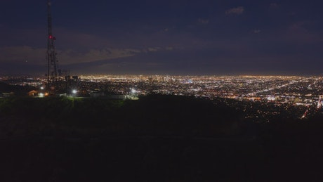 Revealing the city of Los Angeles at night, aerial