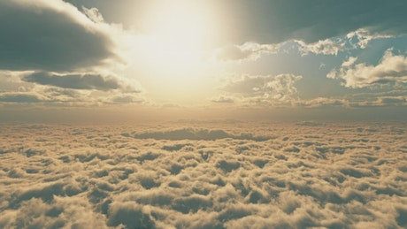 Reverse video of a flight above the clouds
