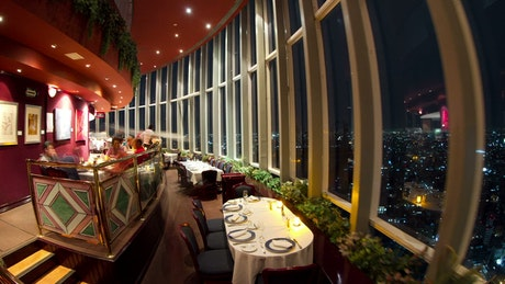 Revolving restaurant in a city