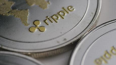 Ripple Bitcoin coins in a close shot