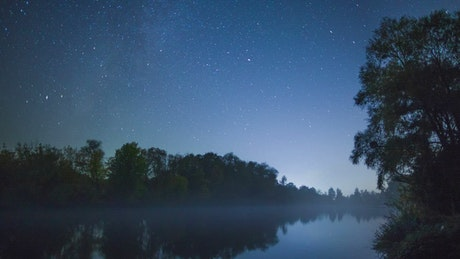 River flowing in a forest under the stars