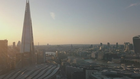 River of London through the buildings, aerial shot