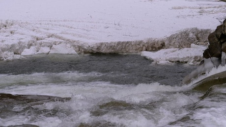 River stream flowing in the winter