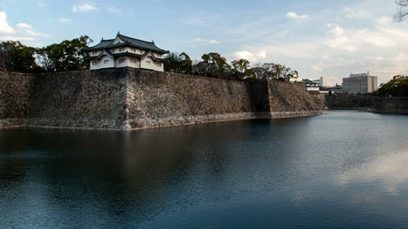 River surrounding a Japanese medieval castle
