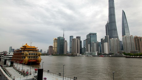 River traffic and Shanghai city skyline