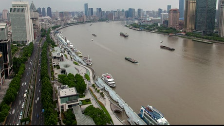 River traffic and the cityscape in Shanghai