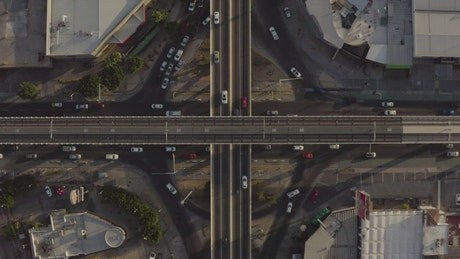 Road junction in a roundabout in a view from the air