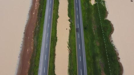Roads along the beach, aerial view.