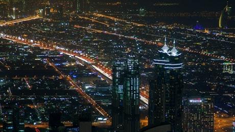 Roads with traffic in Dubai's night
