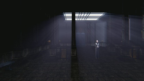 Robed woman in the center of a dark temple in 3D