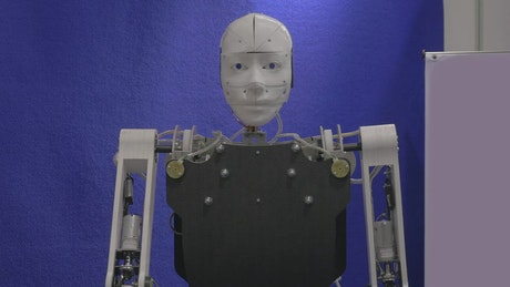 Robot greeting a visitor