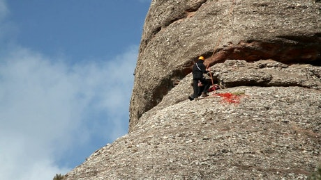 Rock climbers on the face of a mountain