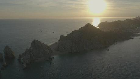Rocky archipelago on a coast in an aerial shot
