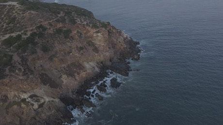 Rocky beach shore, aerial shot