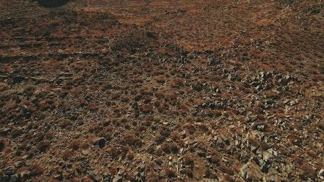 Rocky fields next to a village