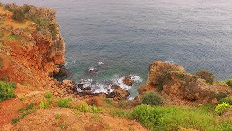 Rocky seashore, high view