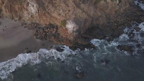 Rocky seashore in the beach, aerial view