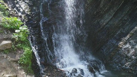 Rocky waterfall, aerial close up
