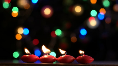 Romantic candles with a bokeh background