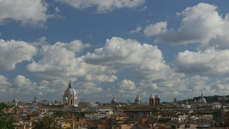 Rome city roofs time lapse