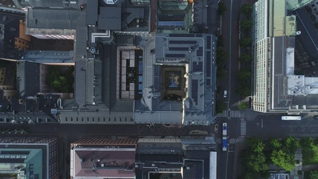 Roofs in a modern city, aerial shot