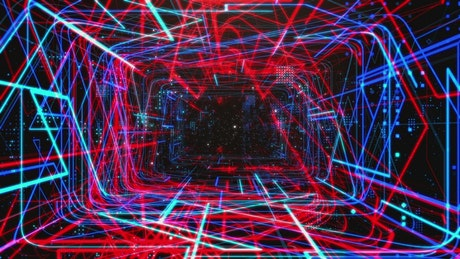 Rotating abstract tunnel filled with light lines