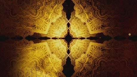 Rotating classic golden Islamic patterns, 3D