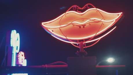 Rotating Neon Lips Sign