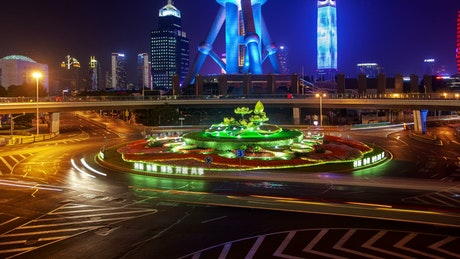 Roundabout and Shanghai tower in the background