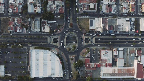 Roundabout city traffic, aerial shot
