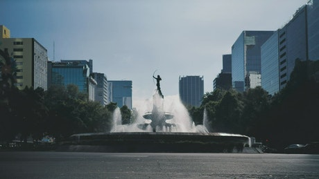 Roundabout in the form of a fountain in the city