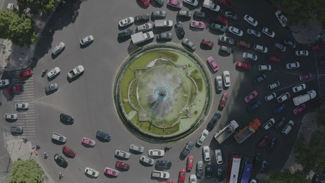 Roundabout with water fountain in middle