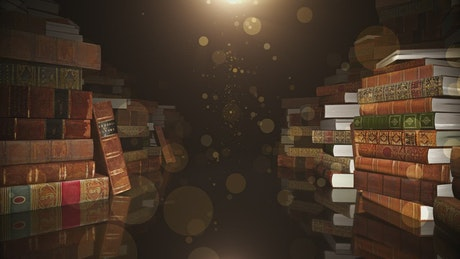Row of 3D book stacks piled up in the dark
