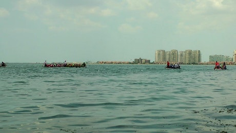 Rowing race in the sea
