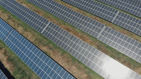 Rows of solar panels, aerial shot