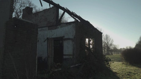 Ruined house without roof in a forest