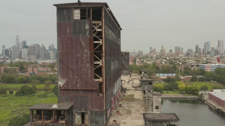 Ruined industrial building in New York