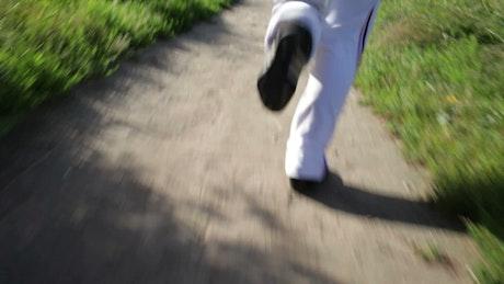 Running through a town park