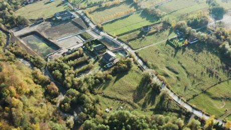 Rural roads between farm buildings