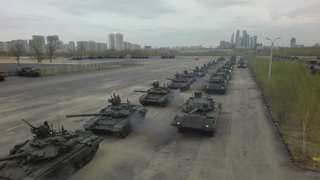 Russian tanks heading out