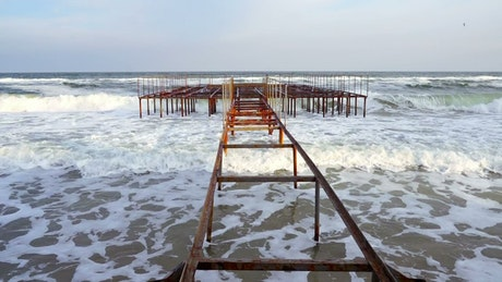 Rusty and old abandoned pier
